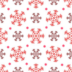Red christmas seamless pattern. Red snowflakes on the white background