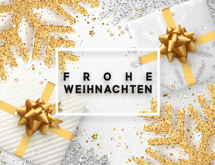 German lettering Frohe Weihnachten. Christmas background with gifts box and shining golden and silver snowflakes. Xmas Greeting card. Vector Illustration.
