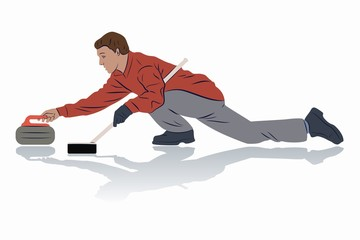 illustration of figure curling player , vector draw