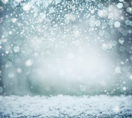 Wonderful winter background with snow and bokeh. Winter holidays and Christmas concept