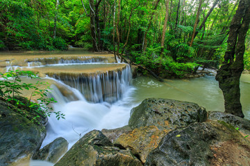 Erawan waterfall, Beautiful waterwall in nationalpark of Kanchanaburi province, ThaiLand.