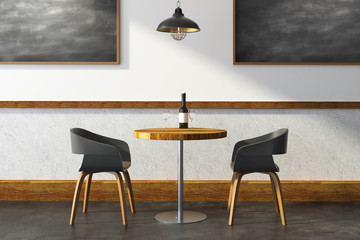 Contemporary cafe with chalkboard