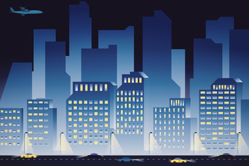 Blue night city background