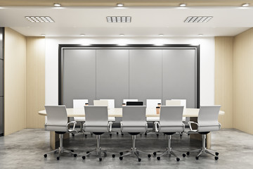 Modern conference room with empty posters