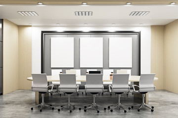 Modern conference room with blank banners