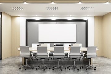 Modern conference room with blank billboards