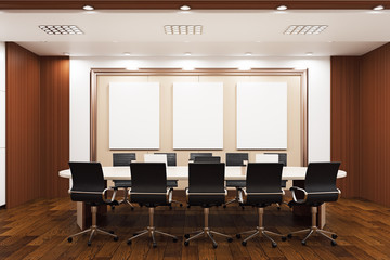 Modern conference room with empty billboards