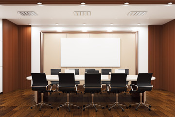 Modern conference room with blank posters