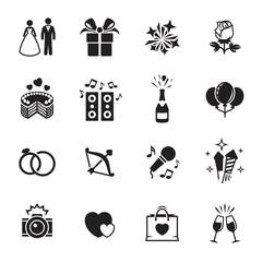 Wedding, marriage icons set