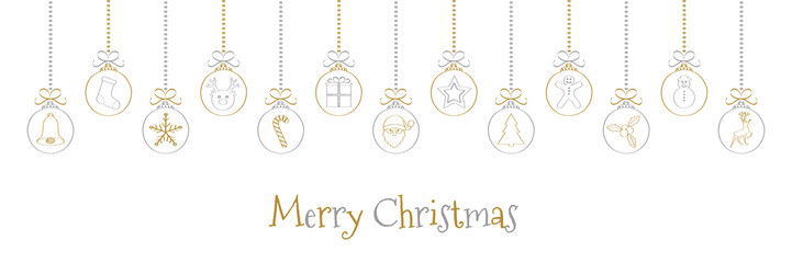 Merry Christmas - wishes on background with hanging baubles. Vector.