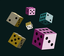Dice on dark background Vector illustration for the casino