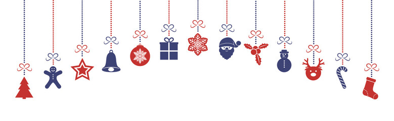 Design of panoramic header with colourful Christmas decorations. Vector.