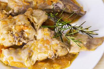 dish of rabbit stew