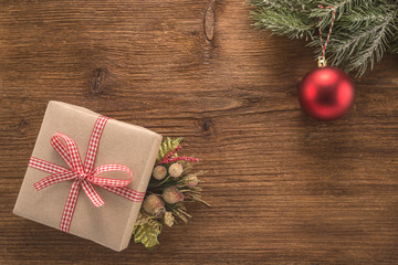 Christmas background with red ball and gift box