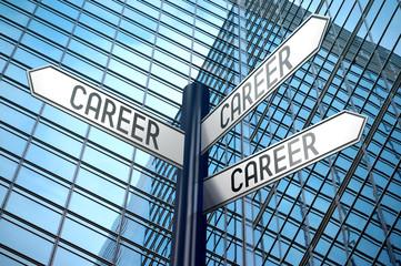 Career - crossroads sign, office building