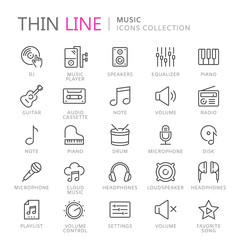Collection of musical thin line icons