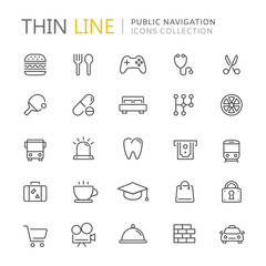 Collection of public navigation thin line icons