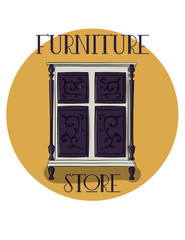 Poster. Furniture store. White wooden chest of drawers with dark blue carved details eps 10 illustration