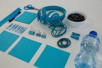 Headphones, blueberries, water bottle and stationery on white