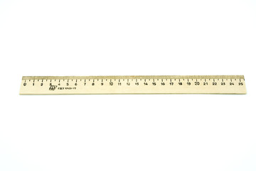 Retro wooden ruler isolated