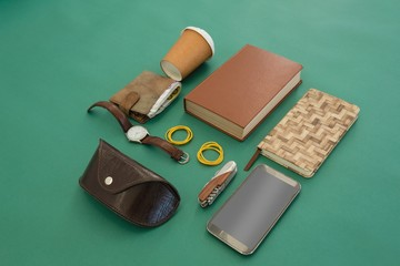 Disposable glass, wallet, organizer, wristwatch, pocketknife,
