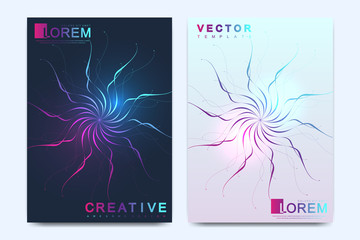 Modern vector template for brochure, leaflet, flyer, cover, catalog, magazine or annual report in A4 size. Business, science and technology design book layout. Presentation with mandala. Card surface.