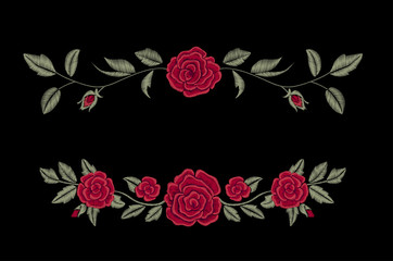 Embroidered flowers. Chic red roses on a black background. Vector floral print. Fashion design.