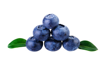 Stack of blueberries on white with clipping path
