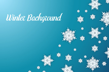 Winter background with paper cut snowflakes, vector design