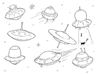 Set of Cartoon Alien UFO Space Ships