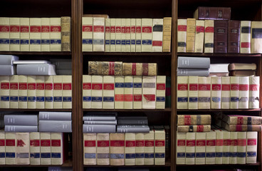 Bookshelf plenty of old legal books