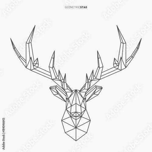 """Vector geometric deer line art. Low poly style animal"