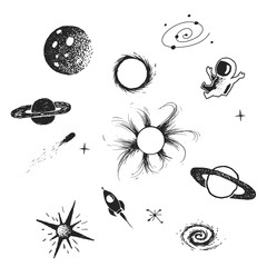 space elements collection on white background.Vector doodle