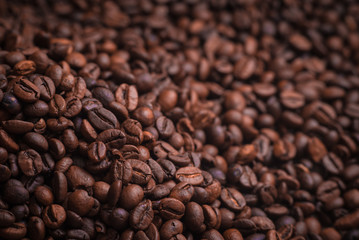 Coffee beans close up macro background