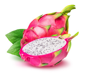 Photo sur Aluminium Fruits Dragon fruit, pitaya isolated on white background