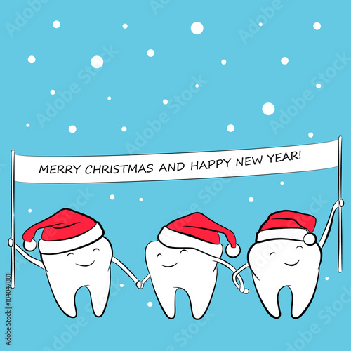 Healthy funny teeth in a santa hat with a banner in hands. Greeting ...