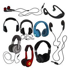 Vector Set of Cartoon Color Headphones