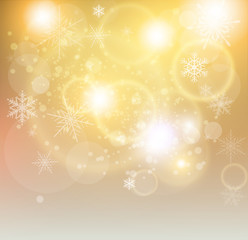New year background gold with exploding lights and snowflakes