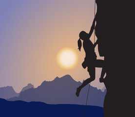 Female Explorer, Rock Climber, Mountaineering, Sunset