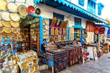 Souvenir earthenware in tunisian market.