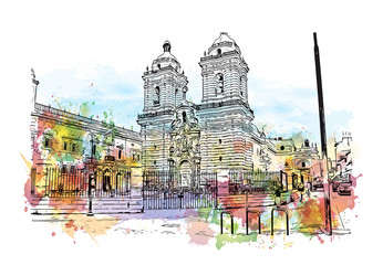 Watercolor splash with sketch of Church and Convent of San Francisco, California, USA in vector illustration.