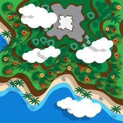 Tropical coast with the mountain. View from above. Vector illustration.