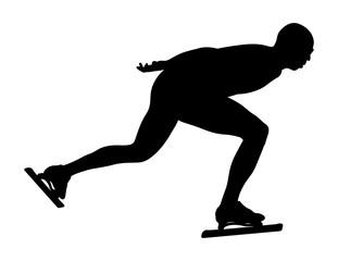 dynamic athlete speedskater racing on ice skating vector illustration