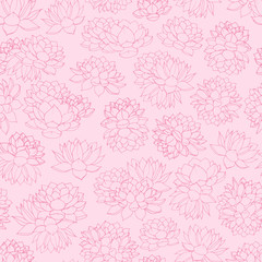 Colorful hand drawn vector lilies contours seamless pattern on pink background. Vintage floral line art.
