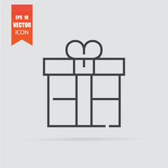 Gift icon in flat style isolated on grey background.