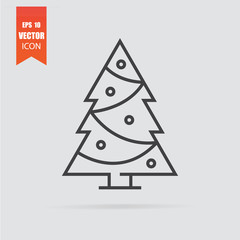 Christmas tree icon in flat style isolated on grey background.