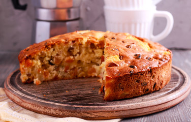 Pineapple and sultana cake, sliced