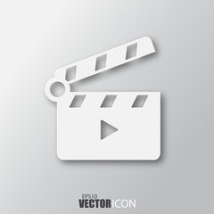 Slapstick icon in white  style with shadow isolated on grey background.