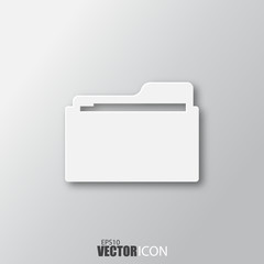 Documents folder icon in white style with shadow isolated on grey background.