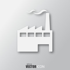 Factory icon in white style with shadow isolated on grey background.